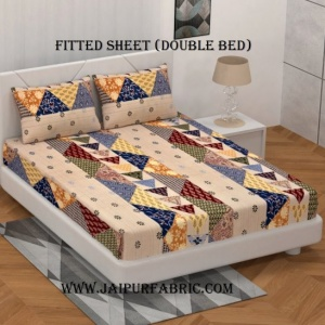 Fitted Double Bedsheet  With Pillow Cover