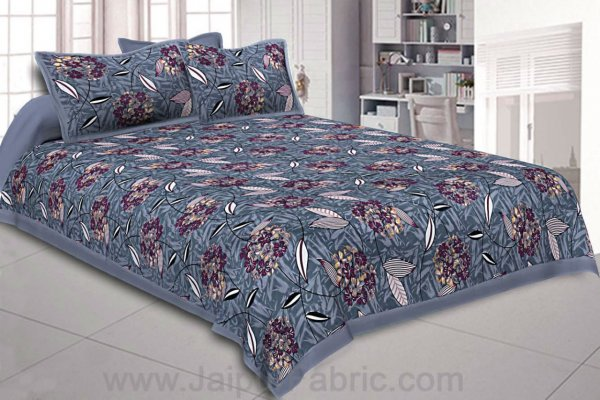 Violet Flowery Double Bedsheet