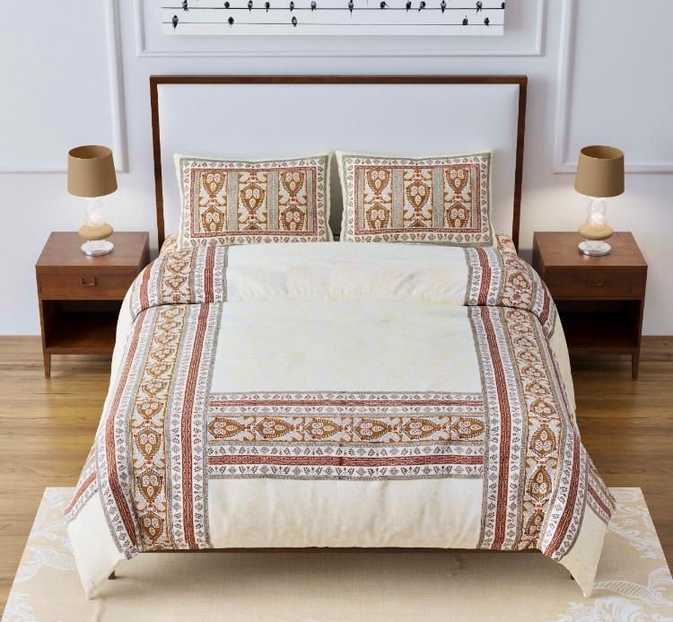 Artistic Quadrangle Brown Double Bedsheet