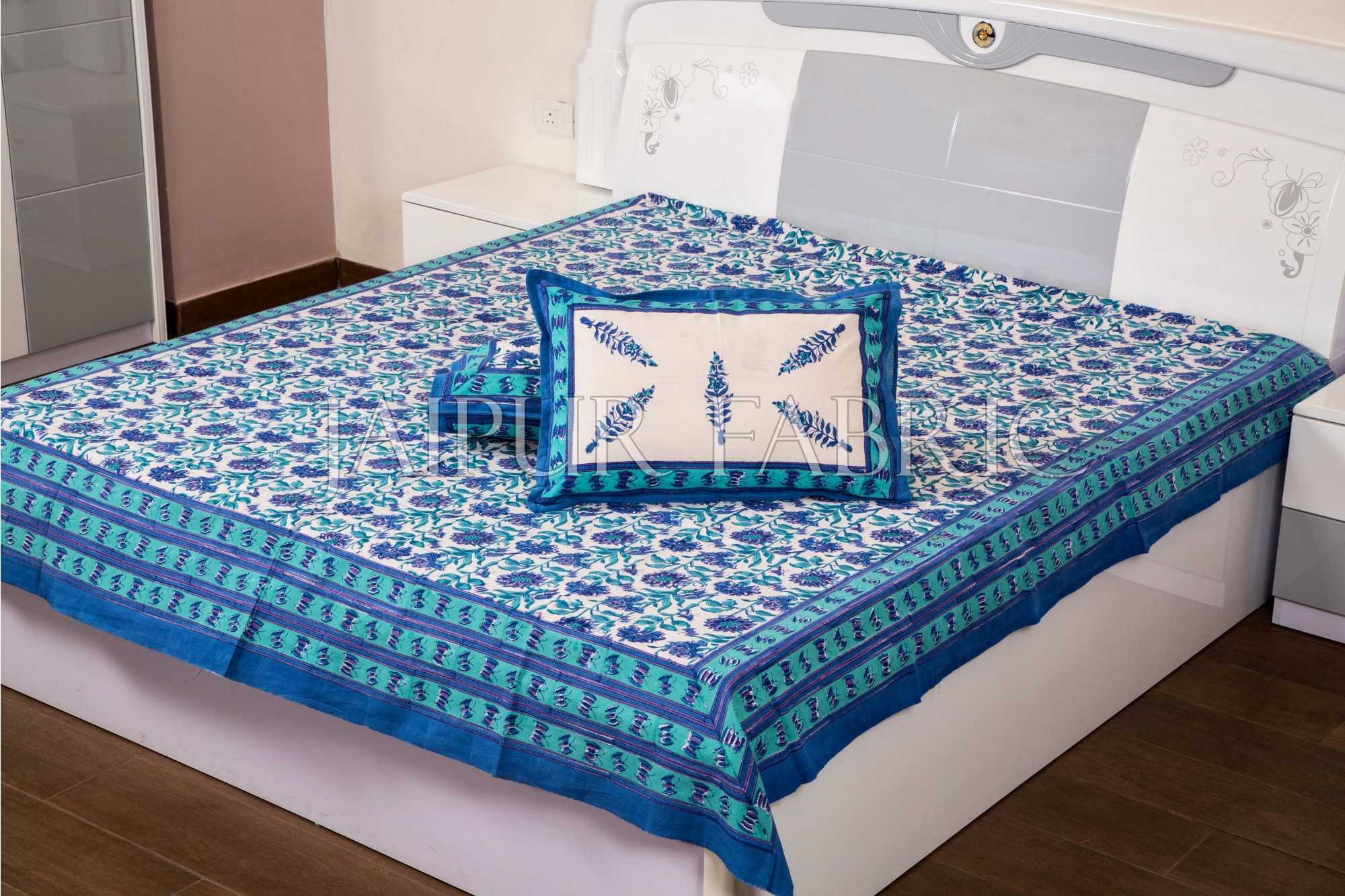 Blue with White Base Floral Hand Block Print Double Bed Sheet with Two Pillow Covers