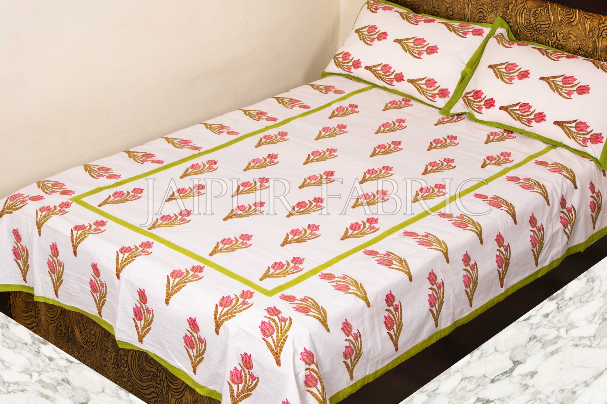 Green Border White Base Pink Flower Handmade Block Print Single Bed Sheet with Two Pillow Covers