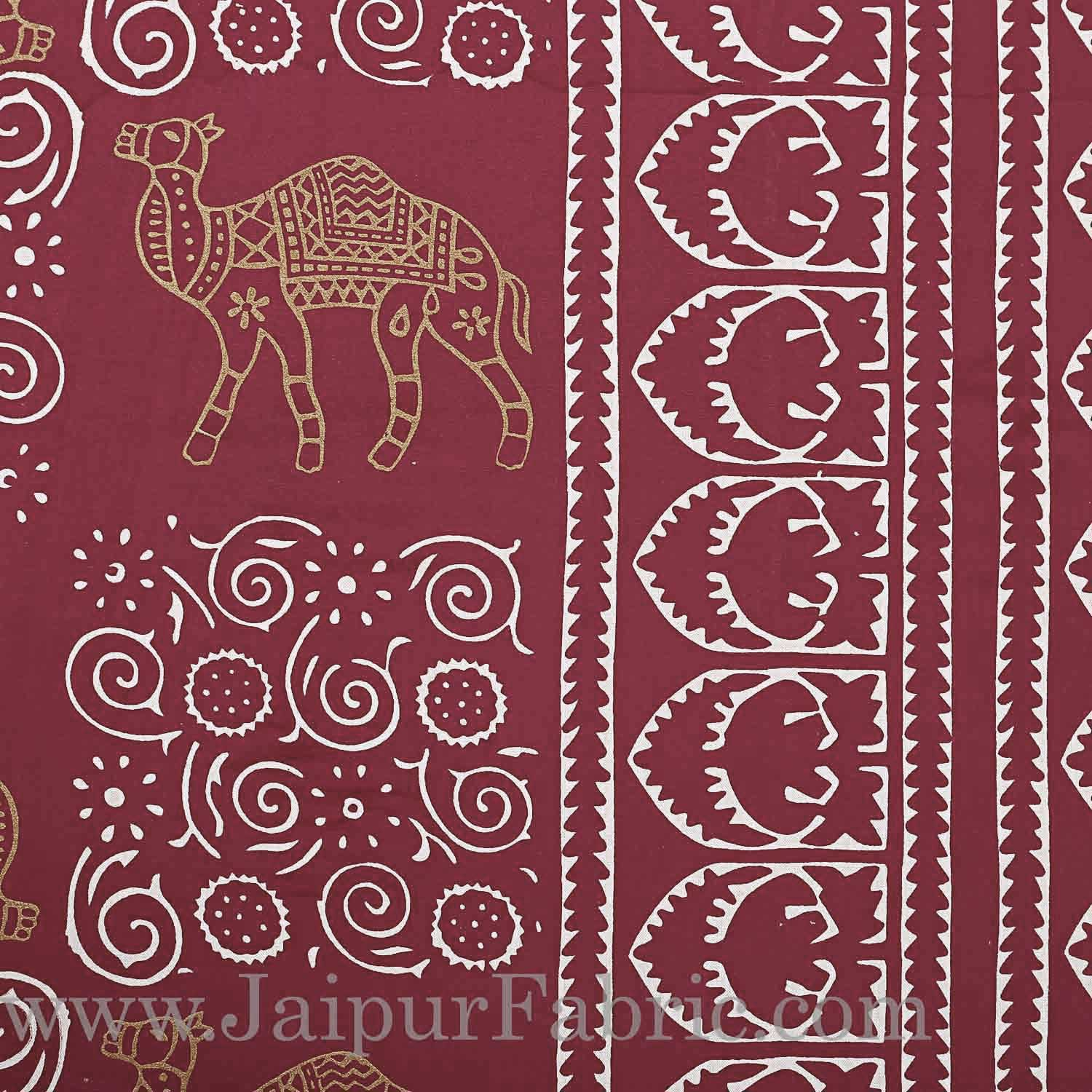 Double Bedsheet Maroon Border Golden Camel Print With Two Pillow Cover